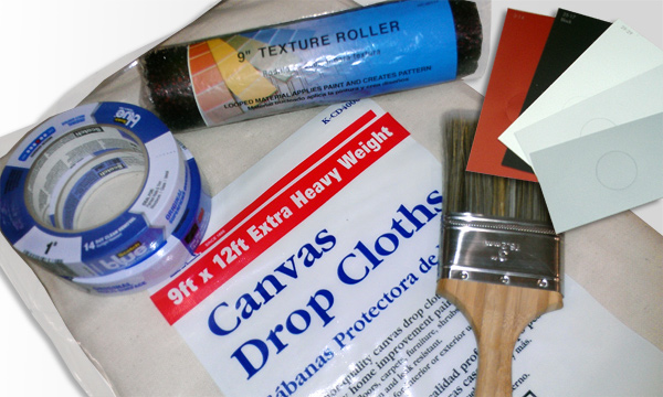 Painting Supplies for Faux Finish Stone Wall hanging backdrop