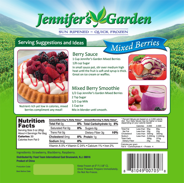 Mixed Berry Stand Up Pouch Design Jennifers Garden Nutritional Panel